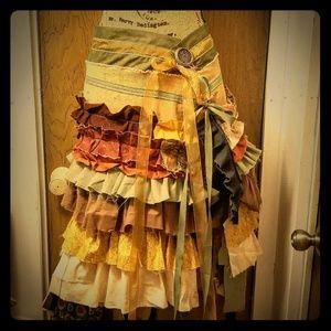 Handmade tribal/fairy/patchwork/rustic Midi Skirt